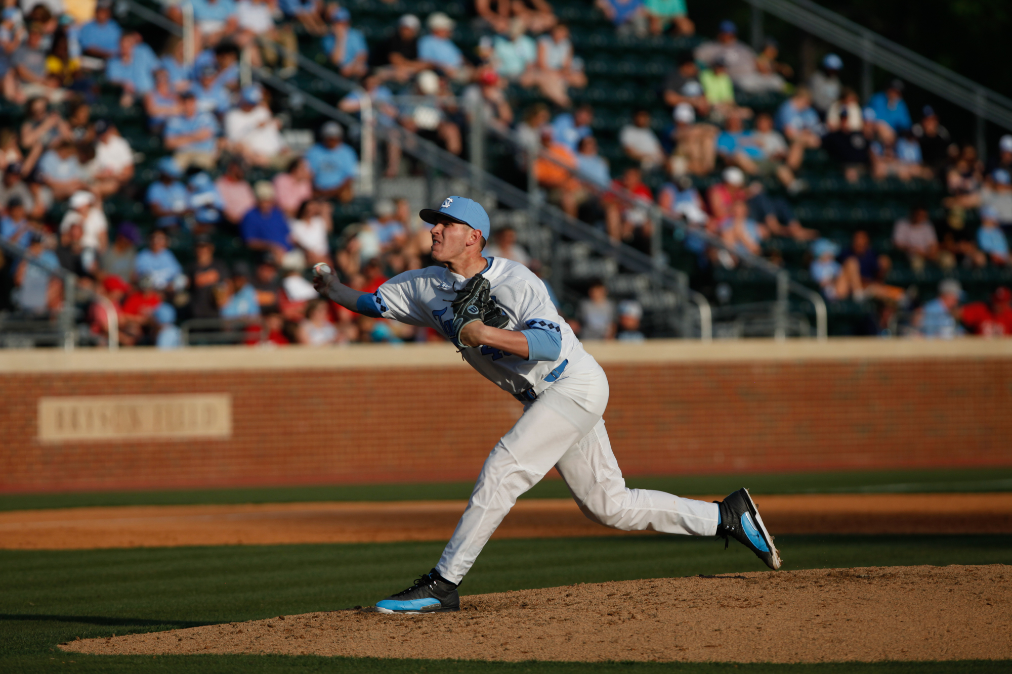 North Carolina's JB Bukauskas pitches against Davidson during the first round of the College World Series.