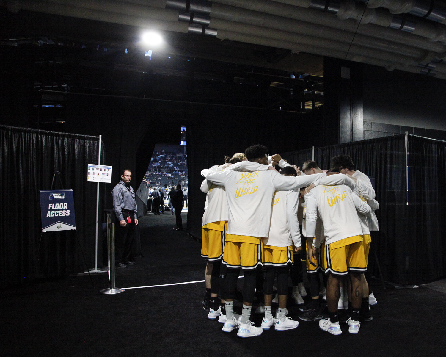 The UMBC Shocker's huddle together before taking the court to shock the number one seeded Virginia Cavalier's and the nation.