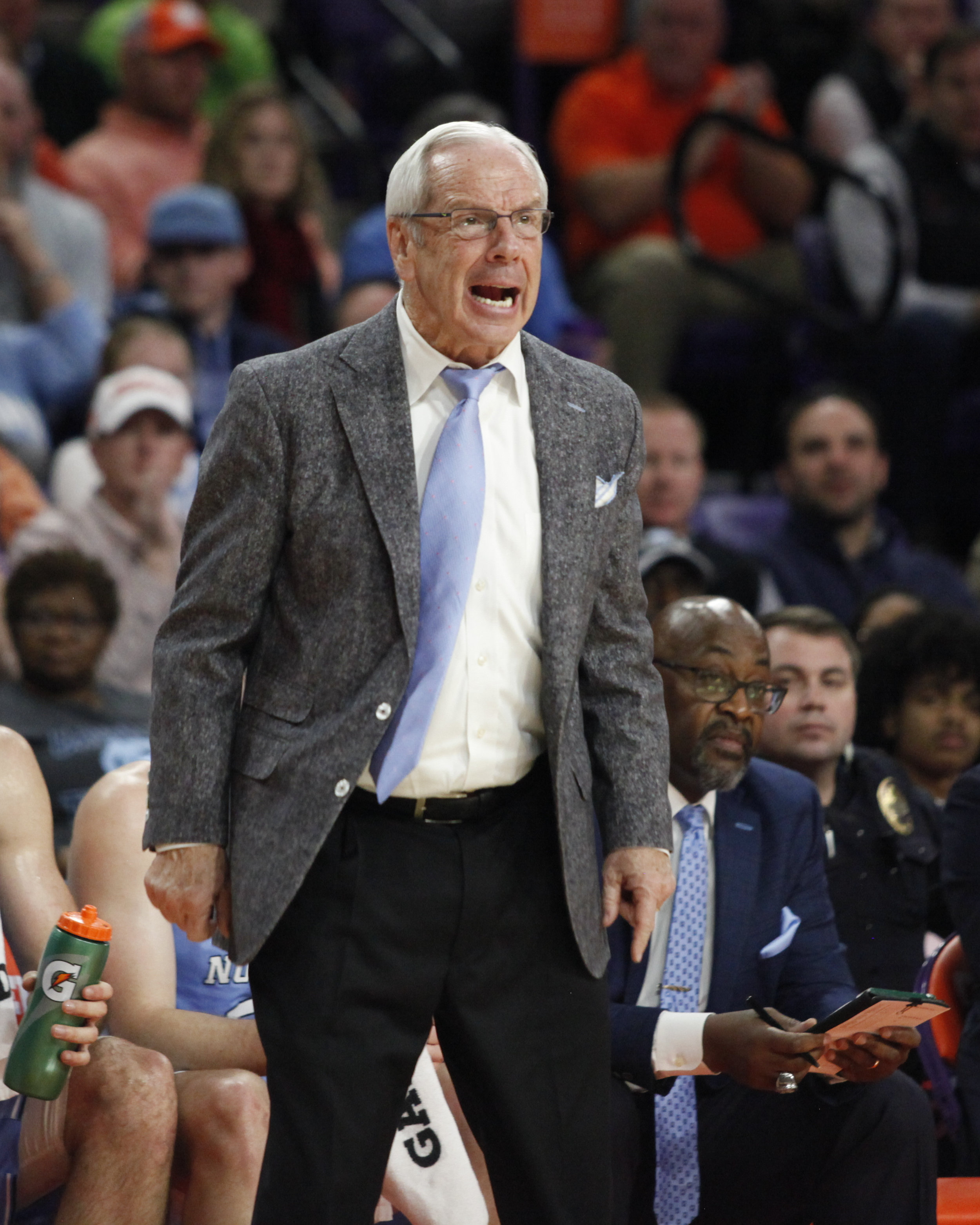 UNC head coach Roy Williams screams in frustration during the ACC Tournament.