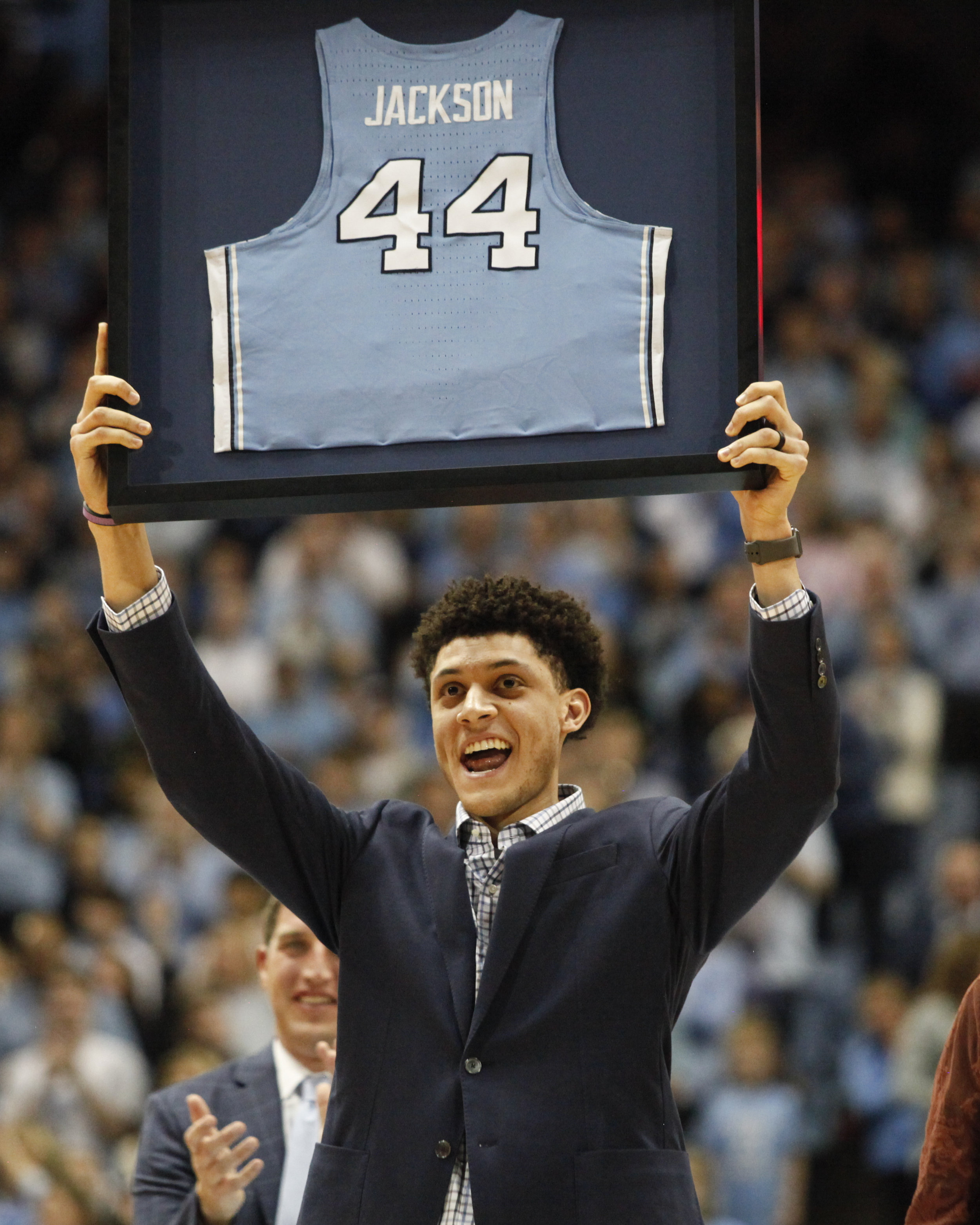 Justin Jackson, now with the Sacramento Kings, comes back to the Dean Smith Center to watch his jersey retired in the rafters.