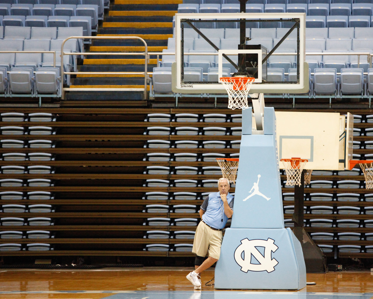 UNC Head Coach Roy Williams looks on at the first practice of the 2016-2017 basketball season.