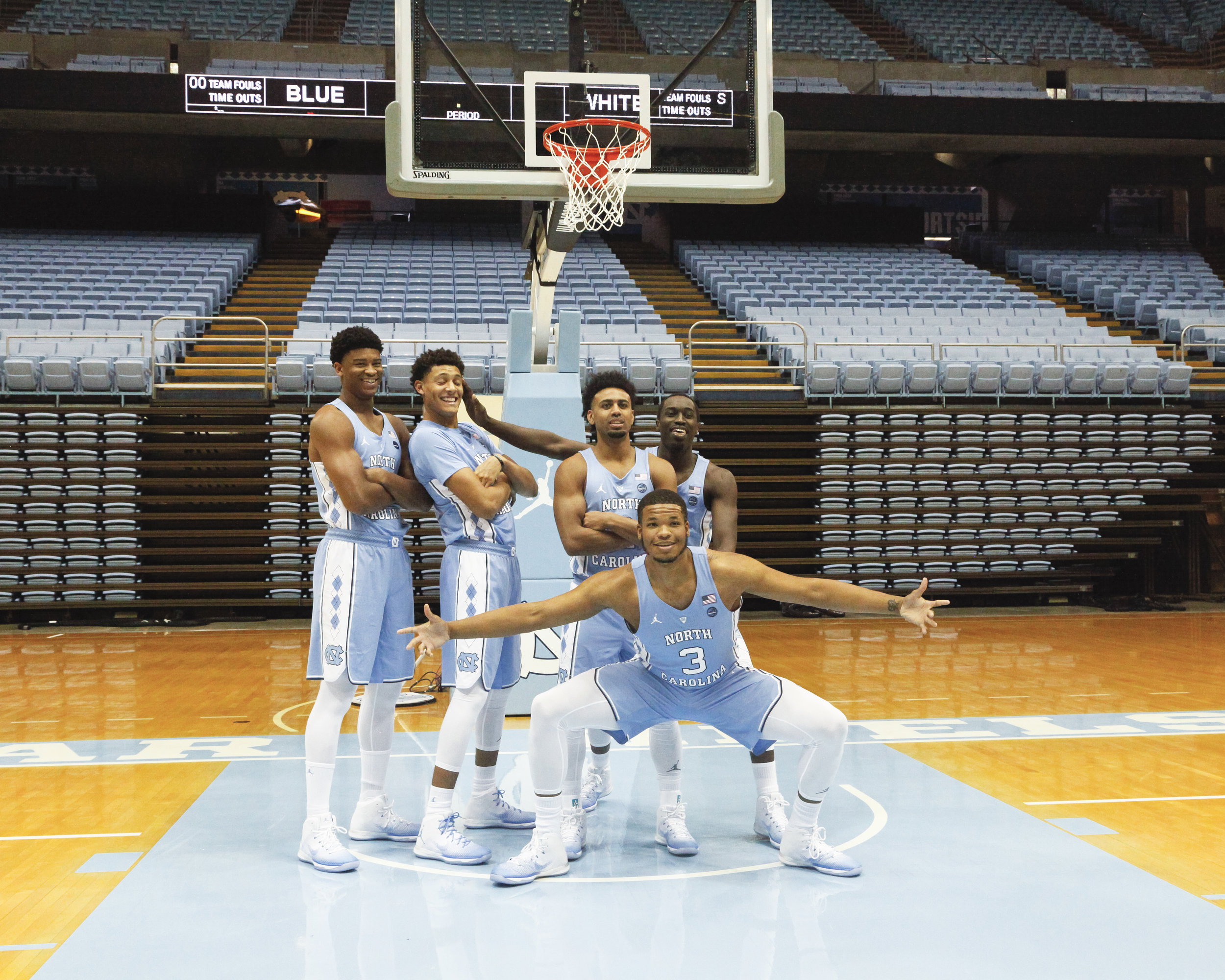 UNC basketball's starting five during the 2016-2017 Media Day.