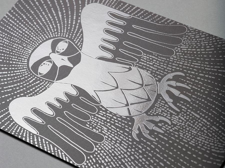 "Aaron Rayburn's ""Dream Eagle,"" with UV coating on black ink."
