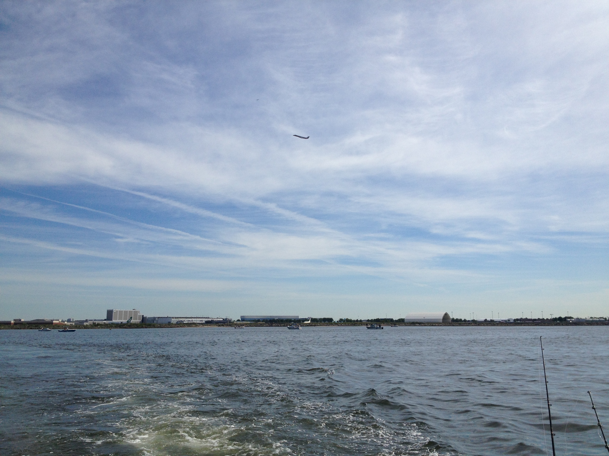 After a long morning of fishing, the getaway - with a suitable metaphor soaring into the clear blue sky over JFK.