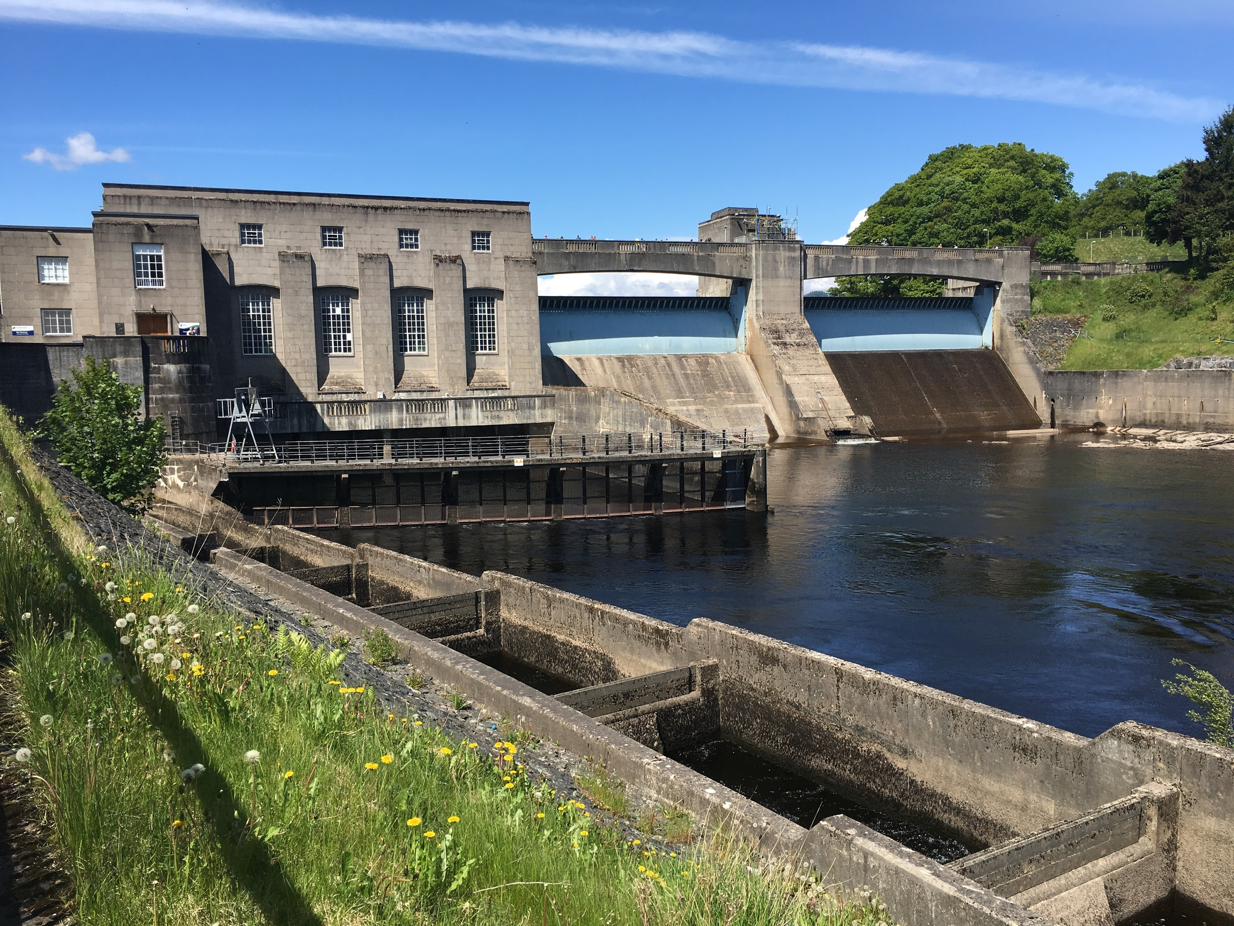 The Pitlochry hydroelectric dam and salmon ladder