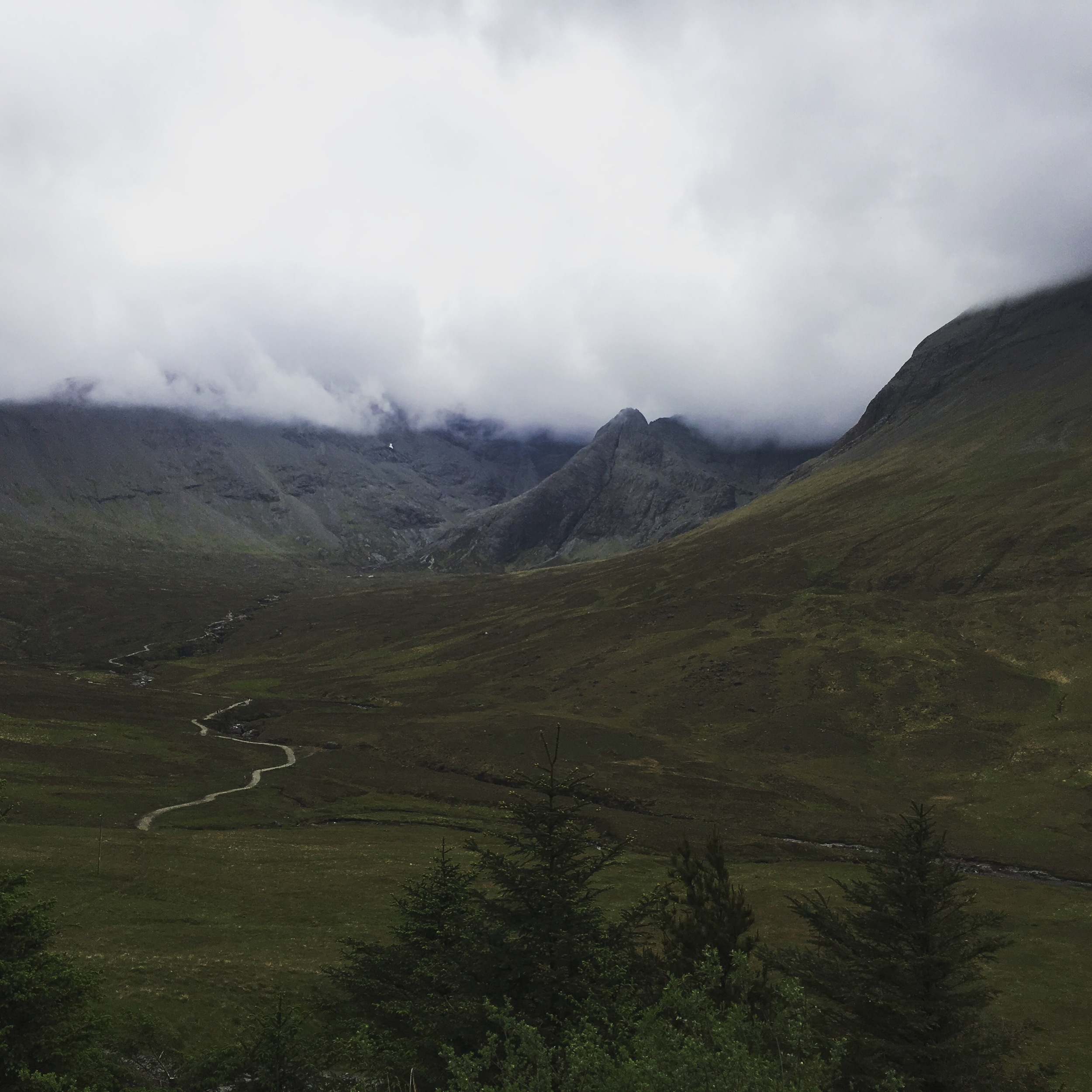 The fairy pools in summary from the road