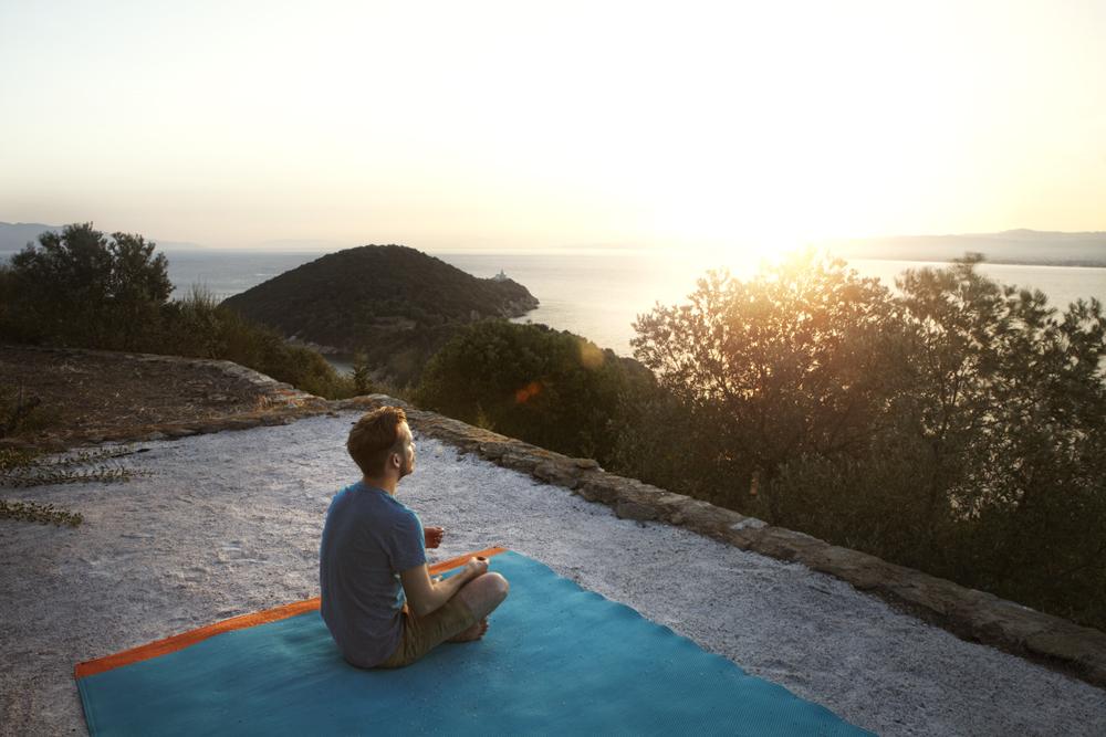 Sunrise on Silver Islands's 'Meditation Platform.' I do my own stunts.