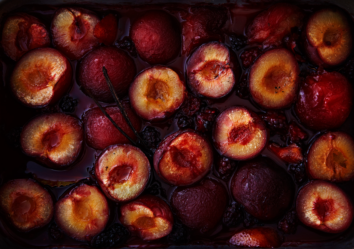 Baked plums for homemade granola.