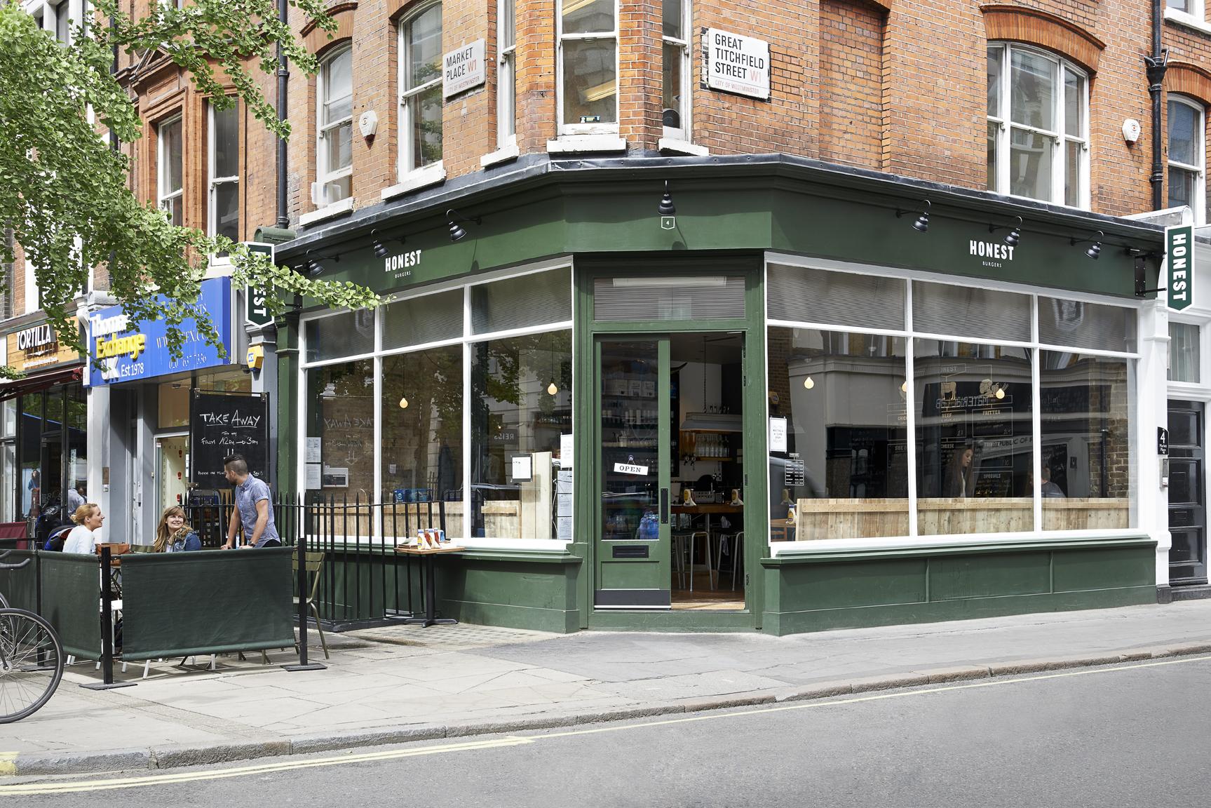 Honest Burgers brand new restaurant on Marketplace, just behind London's Oxford Street.