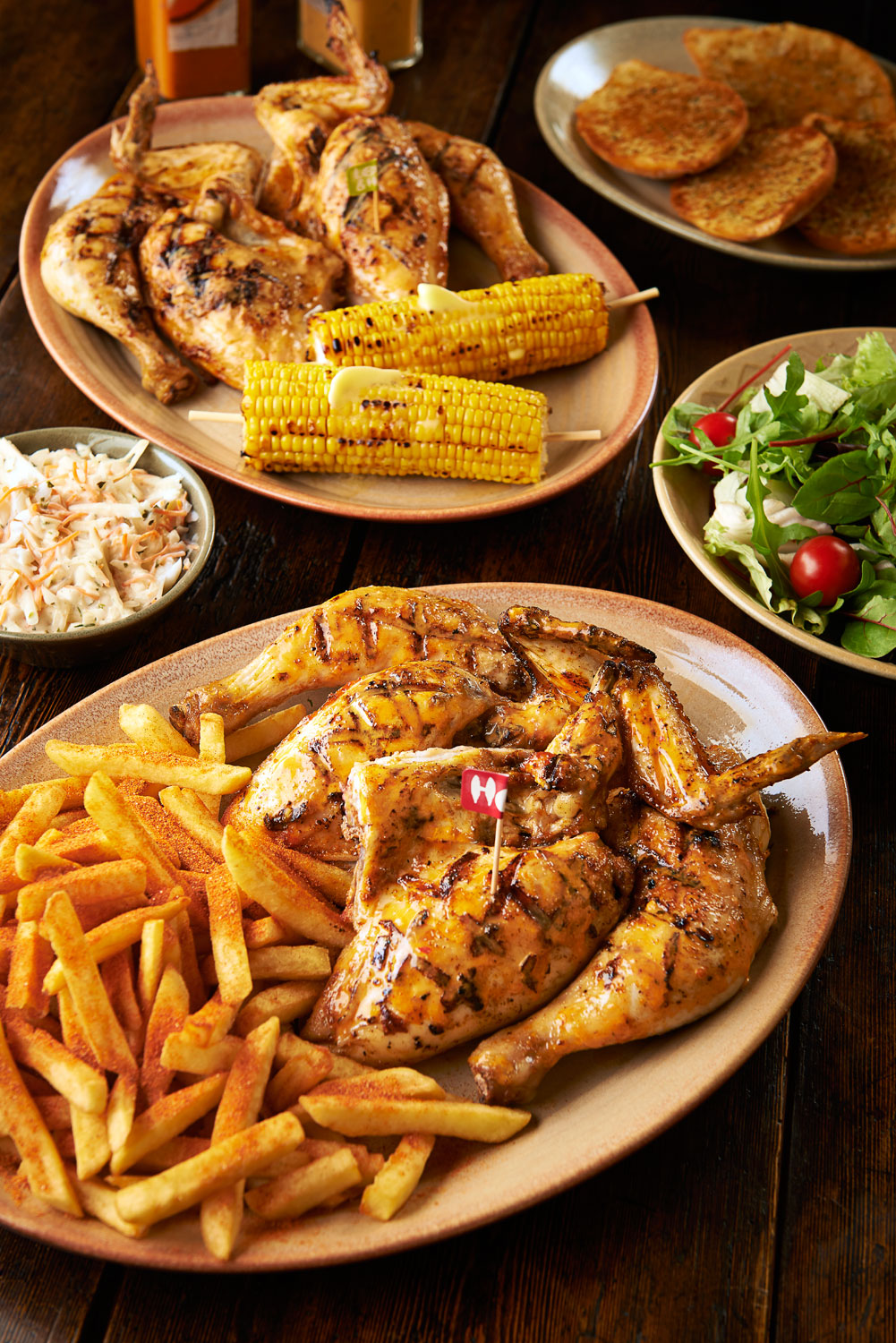 food photography london food photographer london recipe advertising cook book cook editorial packaging design graphic bold bright vibrant lighting lit flash photoshop still life photographer photography still-life still-life restaurant   dinner lunch breakfast meal cooking nando nandos nando's chicken  fried flame grilled flame-grilled fries fired chips peri peri whole half quarter flag coleslaw salad green tomato corn cob sweetcorn on the  garlic bread corn on the cob sauce mango lime lemon and herb lemon & herb hot
