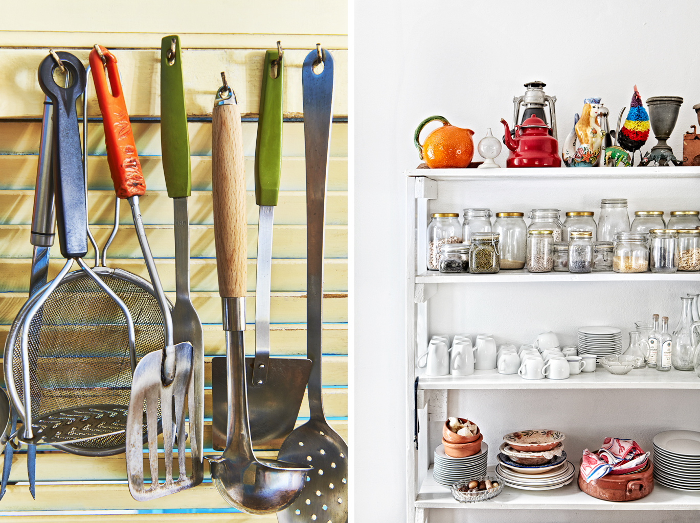 The kitchen.  silver island photography photographer food photographer london britain uk recipe cookbook cook book ingredients travel greece sunshine bright vibrant delicious tasty method trees rustic daylight plates bowls cabinets plate bowl mug mugs bottles jug dresser pulses pulse lentils nuts kilner jars jar jam utensils fish slice mash ladle slotted spoon hanging
