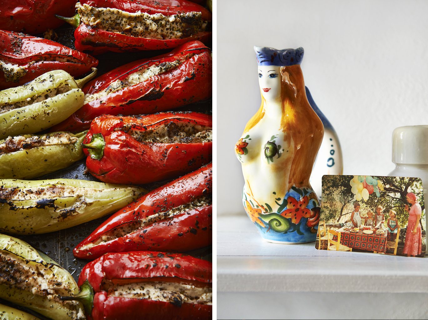 silver island photography photographer food photographer london britain uk recipe cookbook cook book ingredients travel greece sunshine bright vibrant delicious tasty method trees rustic daylight stuffed peppers pepper ricotta feta roasted jugs picture