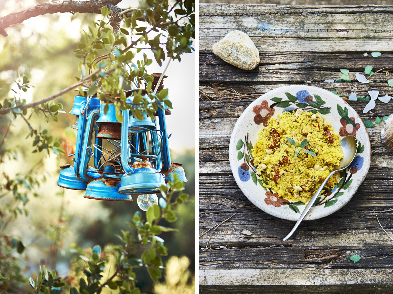 Corne's Cous Cous Lanterns trees cookbook recipe rustic trees daylight book retreat sunshine trees bowl spoon sage sundries tomatoes food photographer food photography london still life photographer britain