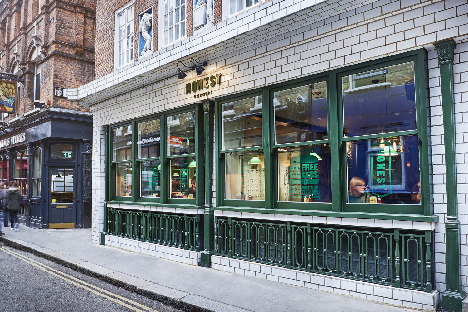 The Brand New Honest Burgers location in Liverpool Street London. Image by Food photographer and director Scott Grummett