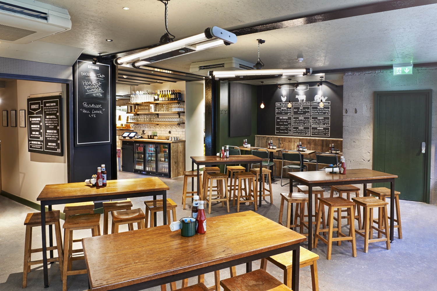 Honest Burger's new location in Liverpool Street. Imagery and Photography by London based still life and food photographer Scott Grummett