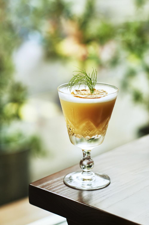 YELLOW DOOR:1235 vanilla donut -finlandia - absinthe - benedictine - vanilla bitters - egg yolk