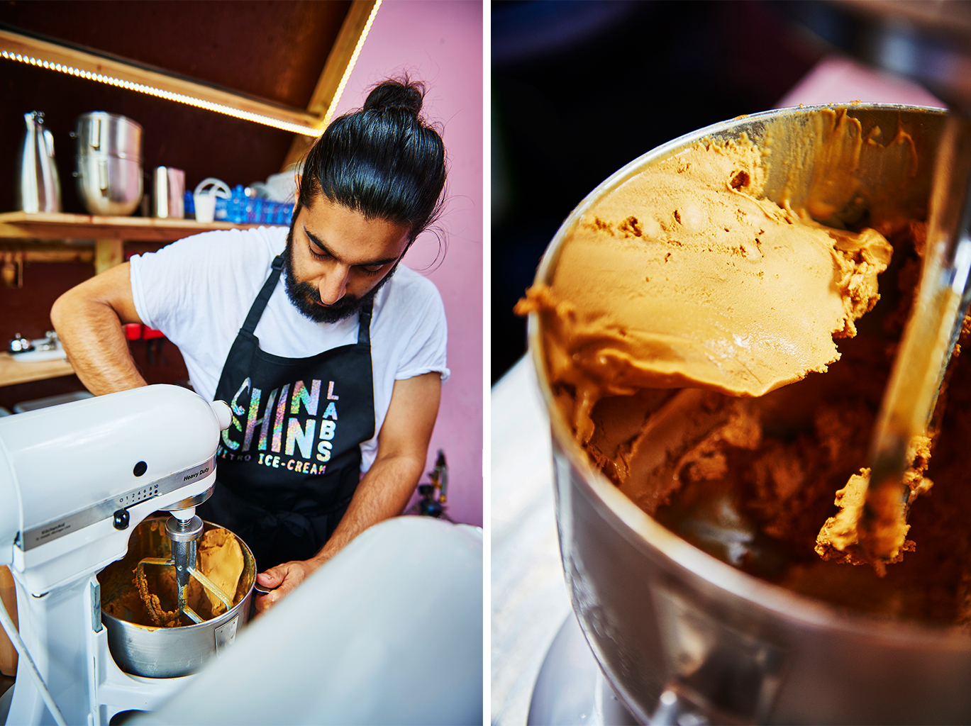 ice cream flavours chef cold ice London still photography shots vibrant colour red machine creating metallic summer sun edit nitro ice pink shades dry ice delicious tempting white eating out noise colours making ice cream