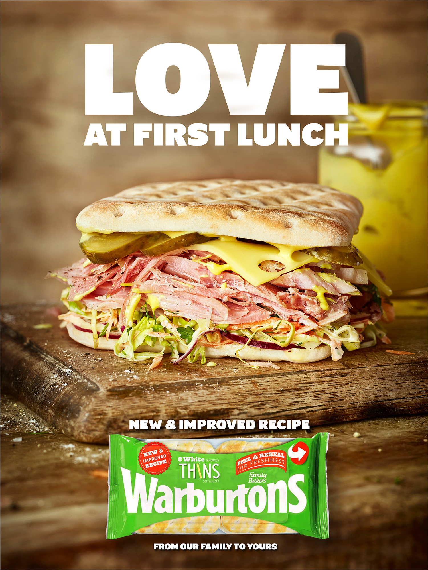 food photographer photography london uk drinks meals lunch dinner brunch breakfast advertising editorial gherkinspickles sandwich sarnie bread baked mayonnaise lettuce swiss cheese emmental ham hock gammon joint meat pig pork red onion warburtons thins mustard