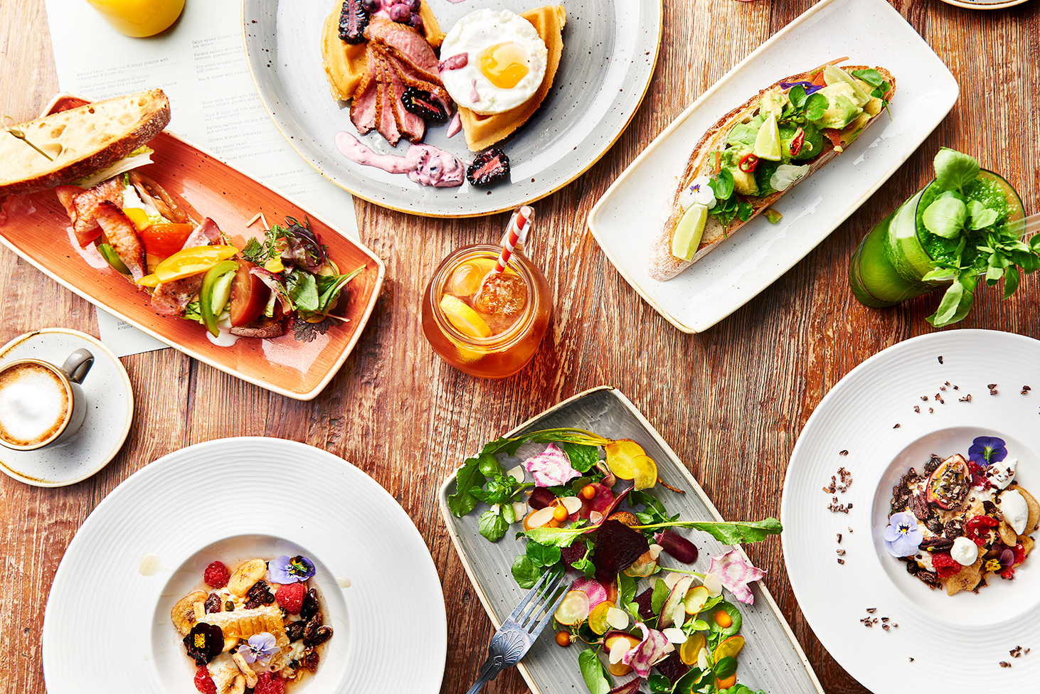 food photographer photography london uk drinks meals lunch dinner brunch breakfast advertising editorial waffles fried eggs blackberries blueberries blueberry blackberry sandwich granola juice tea coffee drinks spread table friends sharing aviator by tag one eleven farnborough