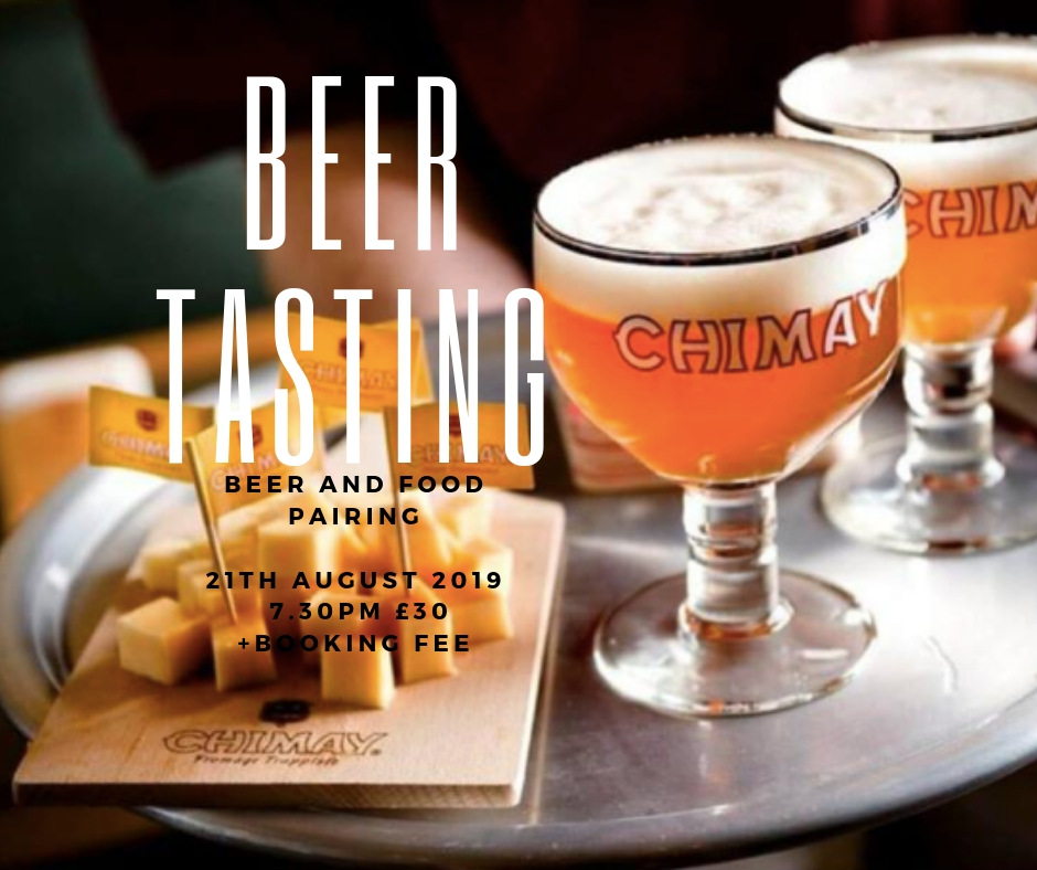 Our next beer tasting is August 21st. A beautiful summer tasting and food pairing.