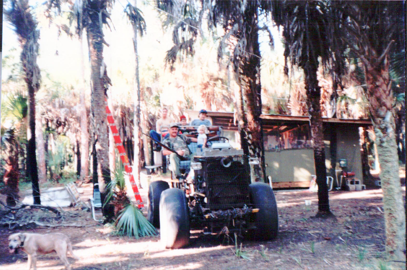 That blonde blob in the front is me getting ready for a ride with family and friends at our camp off Alico Road.