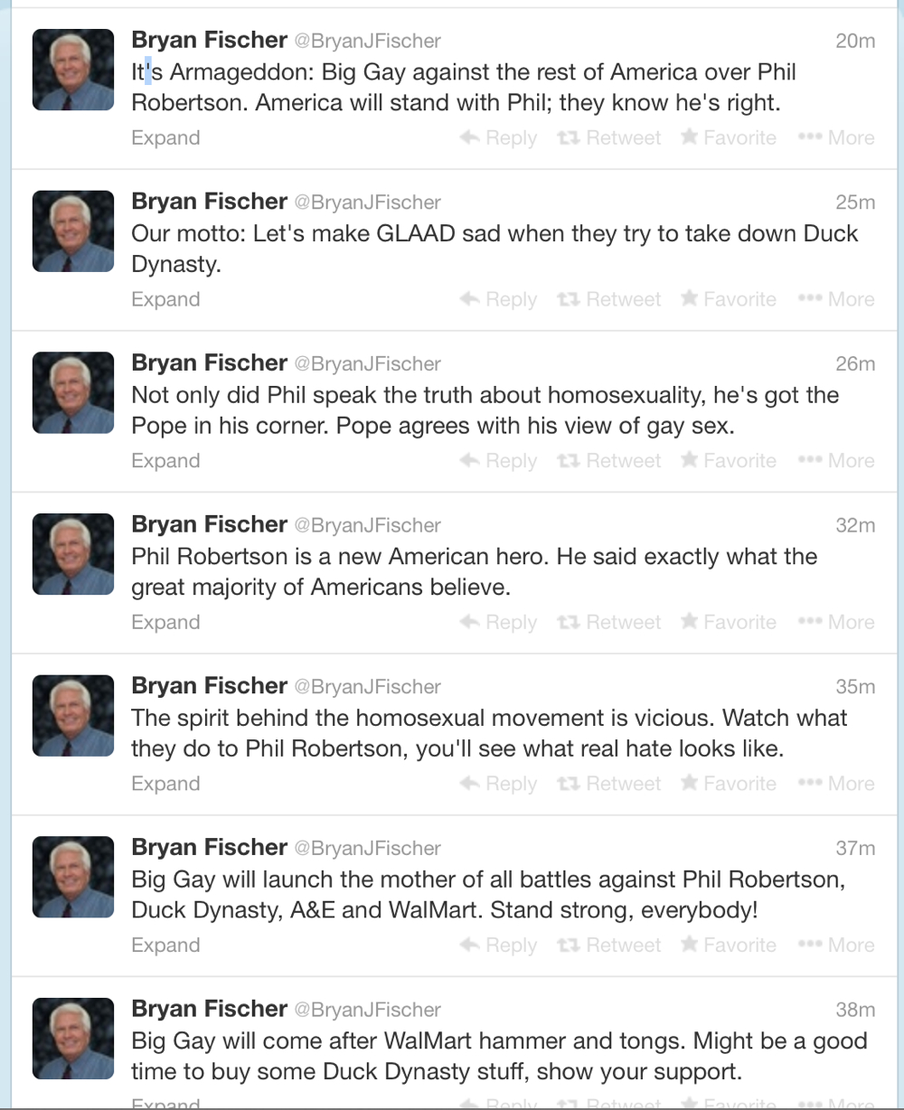 Bryan Fishers Hate Filled Tweets.