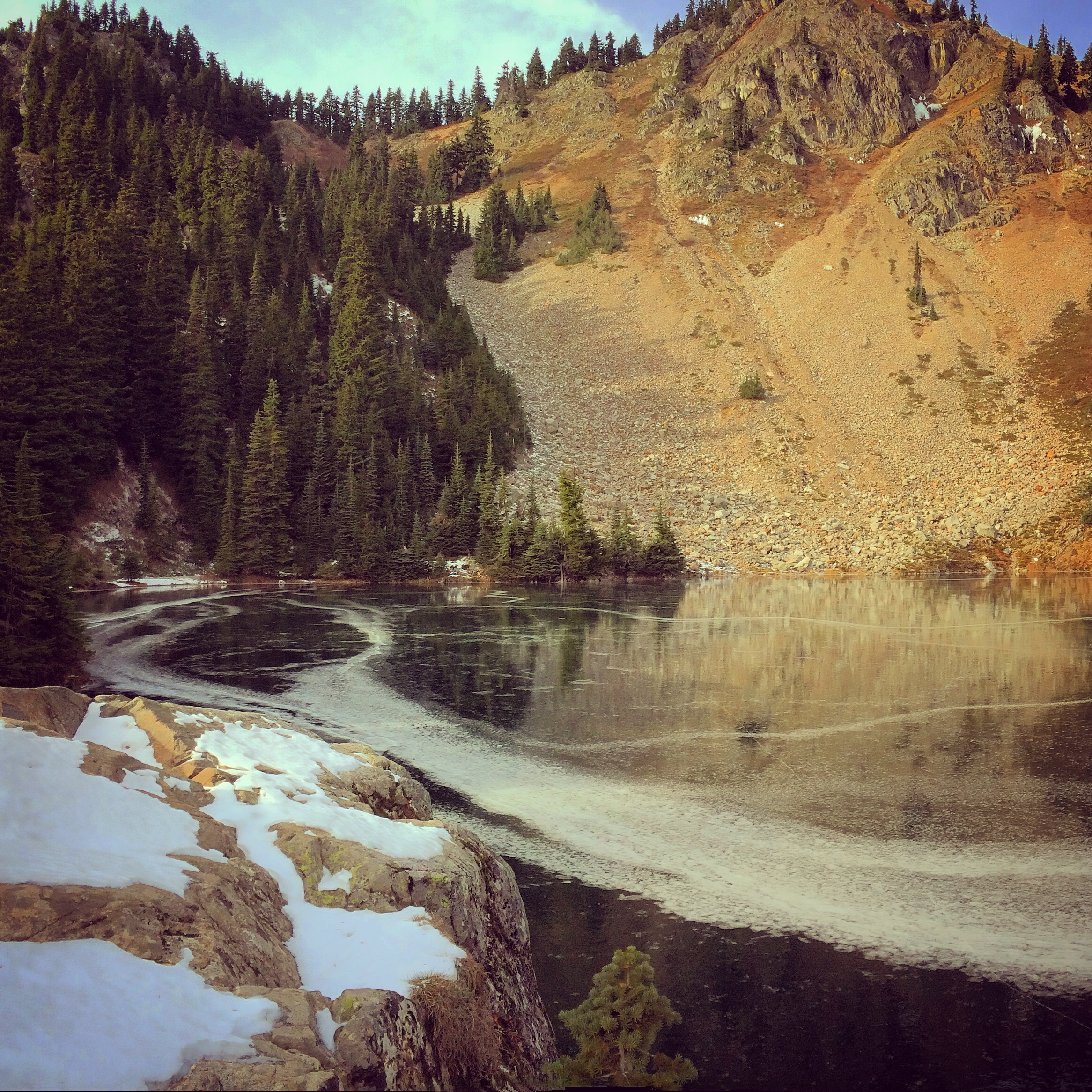 We made it! Margaret Lake was frozen solid... and when the rocks rolled down the hill, the lake made an awesomely alien sound. So cool!