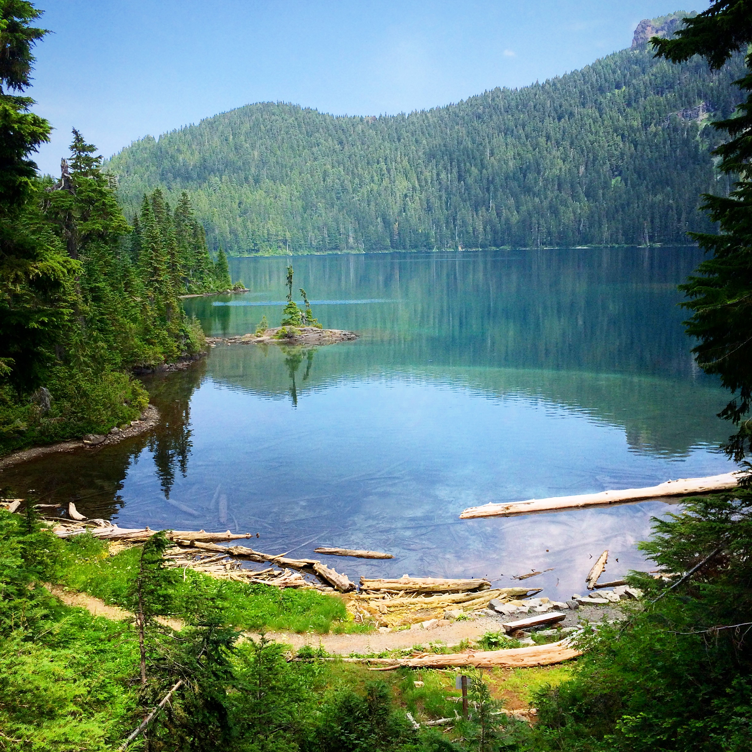 Mowich Lake, Mt. Rainier National Park, WA  Hiked to Spray Falls on July 8th 2015. The view was great, the water was cold but great, the flies where everywhere, haha. All in all, a great day!