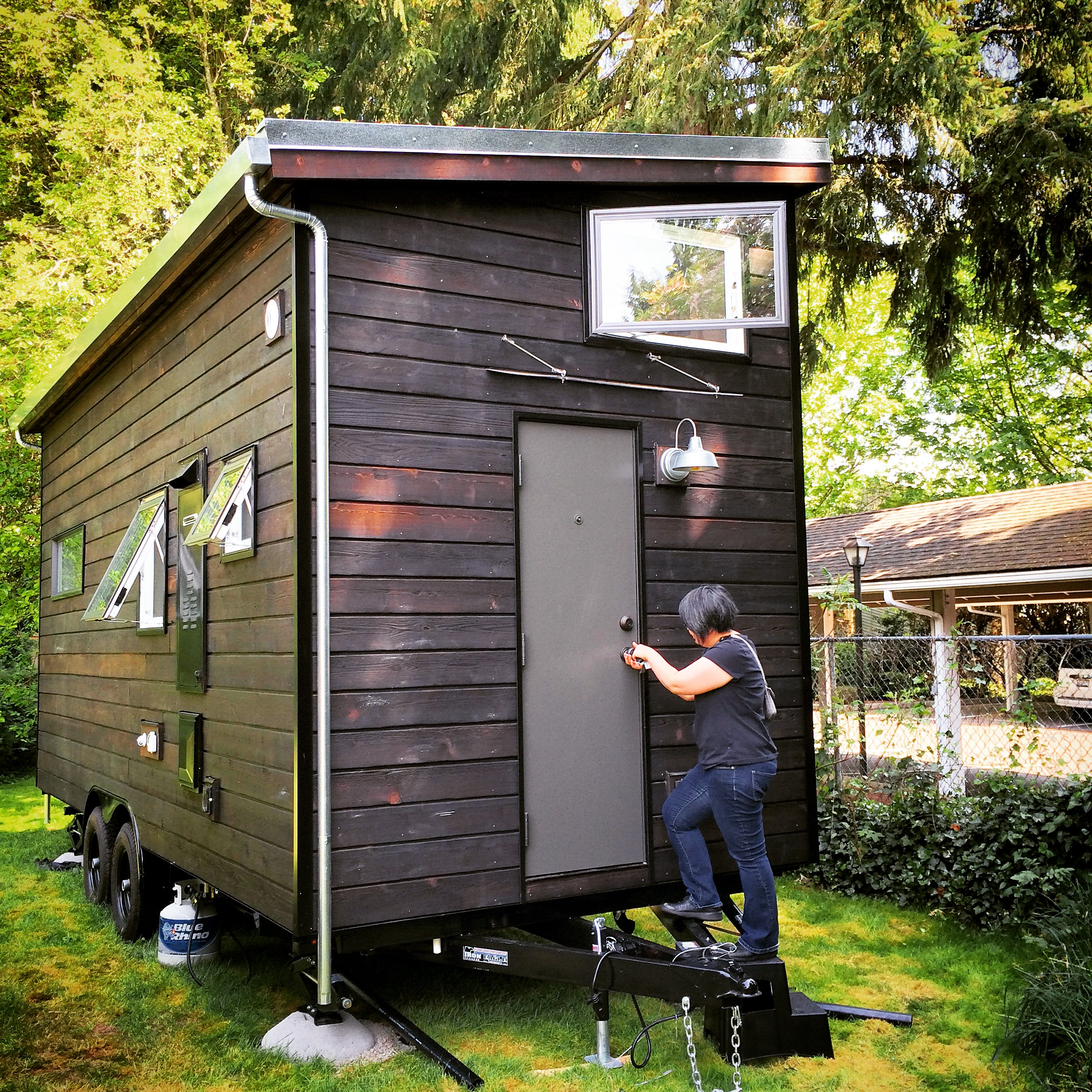 My girlfriend, Kat's Tiny House! She recently got delivery of her tiny house, through  Shelterwise located in Portland, OR. I know you might want to see more, but she currently doesn't have a website to showcase her house and her story, but you can find more photos on my  Instagram  page.