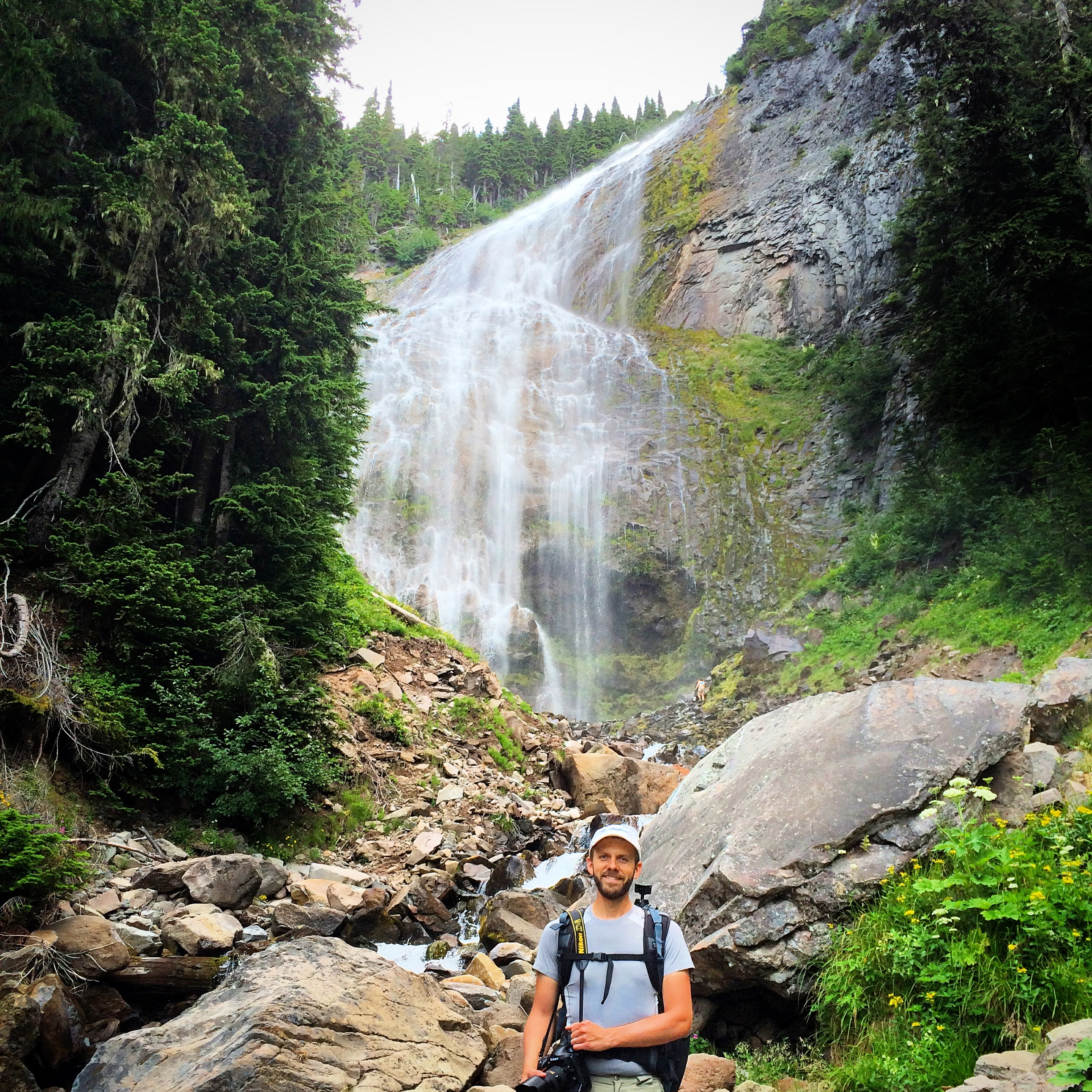 We recently went on a hike this last week and checked out Spray Falls, located in Mt. Rainier's National Park. If you look close enough, you will see two people walking up to the falls, in the background... just to give you an idea of how tall the falls are, which is 354 feet! So beautiful! My husband, that is... the falls are a close second ;)