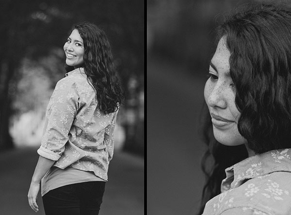 black and white senior portrait photography