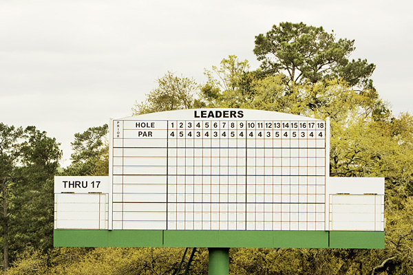 Masters 18th hole scoreboard