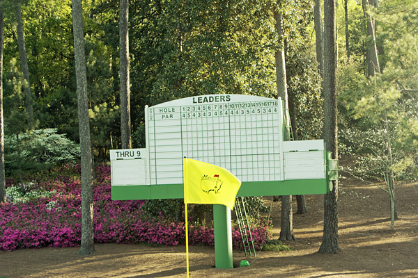 Masters 10th flag and scoreboard