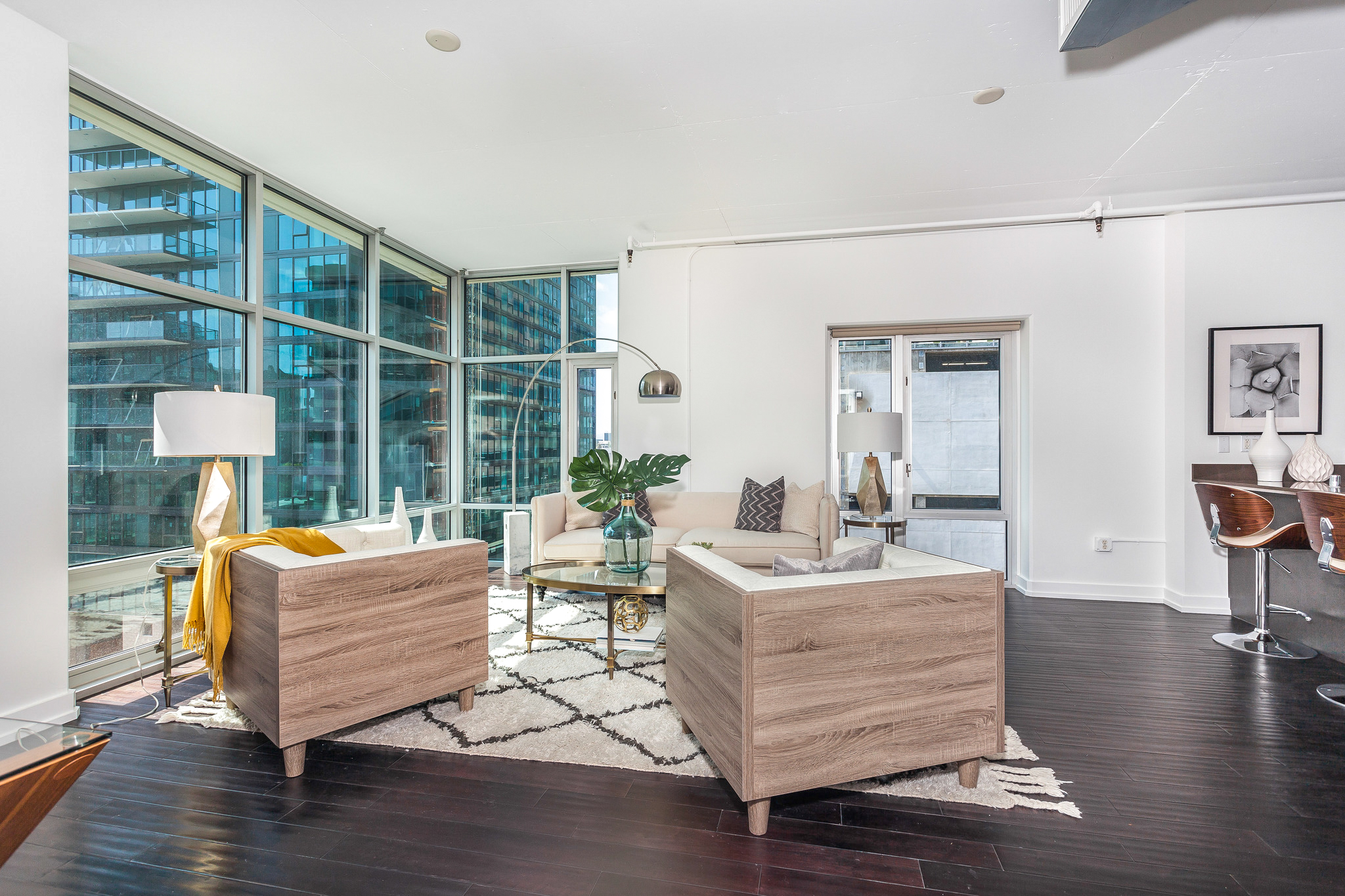 condo living room with view of los angeles