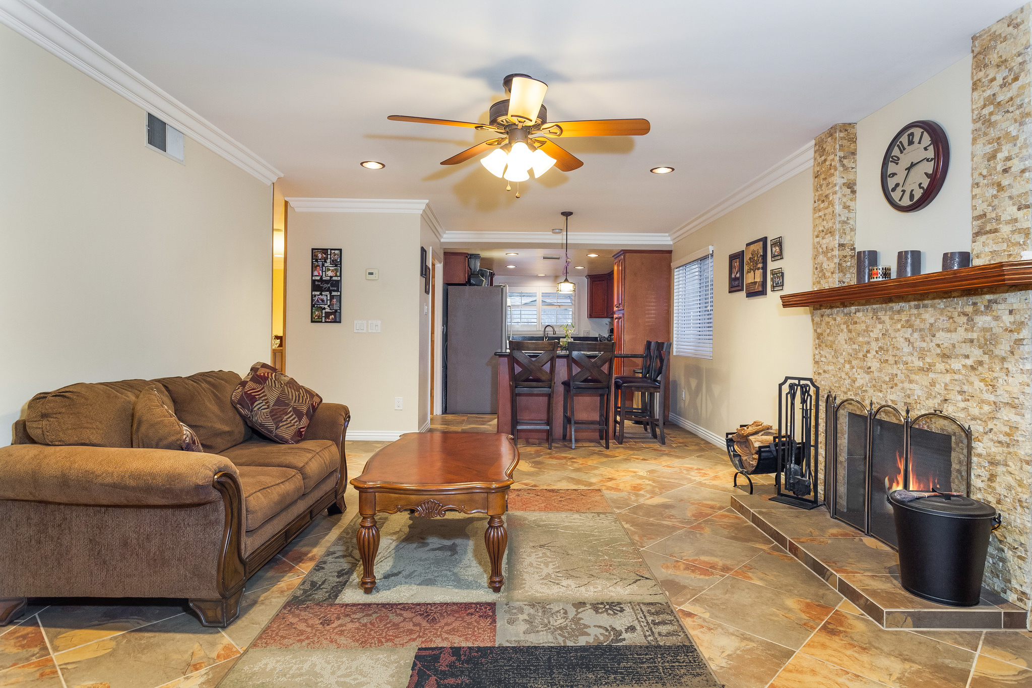 reverse view of living room with fireplace