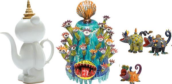 """""""P  ee Bear Teapot with Thai Hat"""", `Medusa' and `Teddy Bear Eater'"""