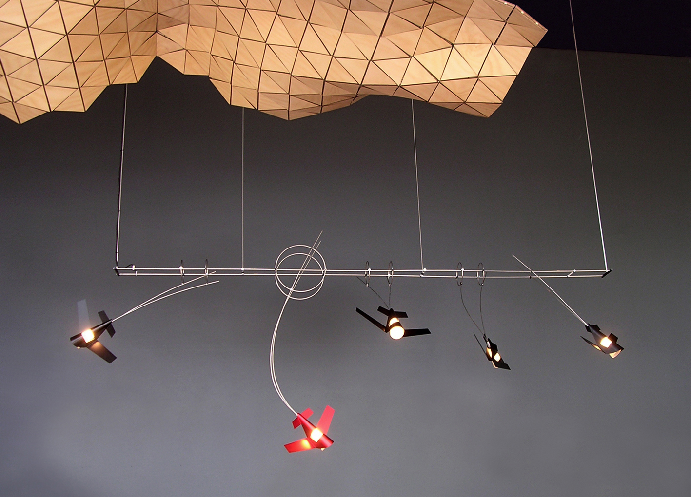 Event Surface | 2003 | Plywwood | 2M x 1.2M   Aerial Light #1  | 2005 | Stainless Steel, Anodised Aluminium, Glass | 2M