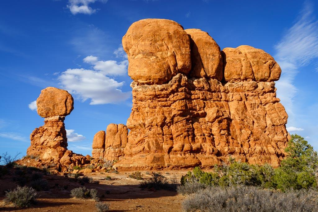 Balanced Rock and Entrada Sandstone Fin, Arches National Park, Moab, Utah