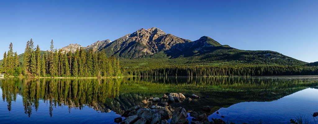 Pyramid Island and Mountain, Jasper National Park, Alberta, Canada