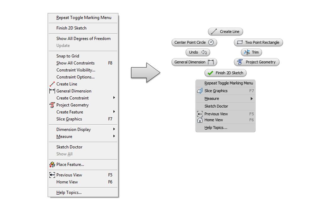 Replace linear context menu to marking menu