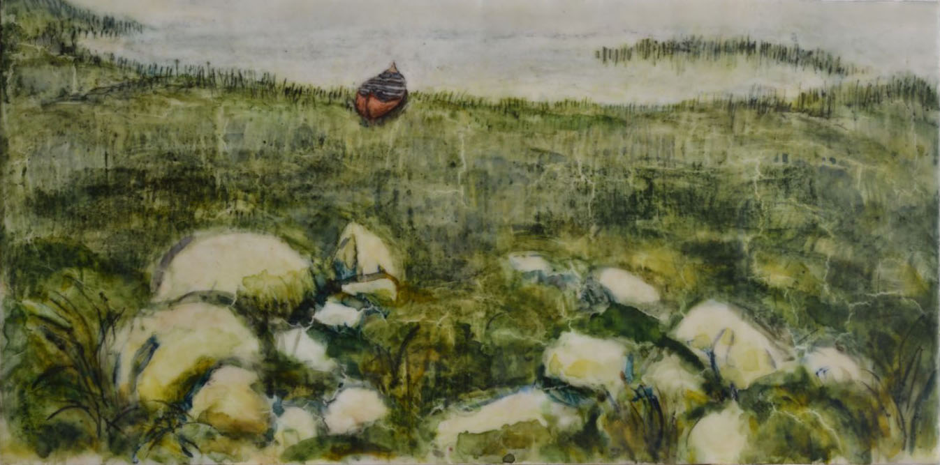 "Stone Enclosure with Canoe, 10 x 20"""