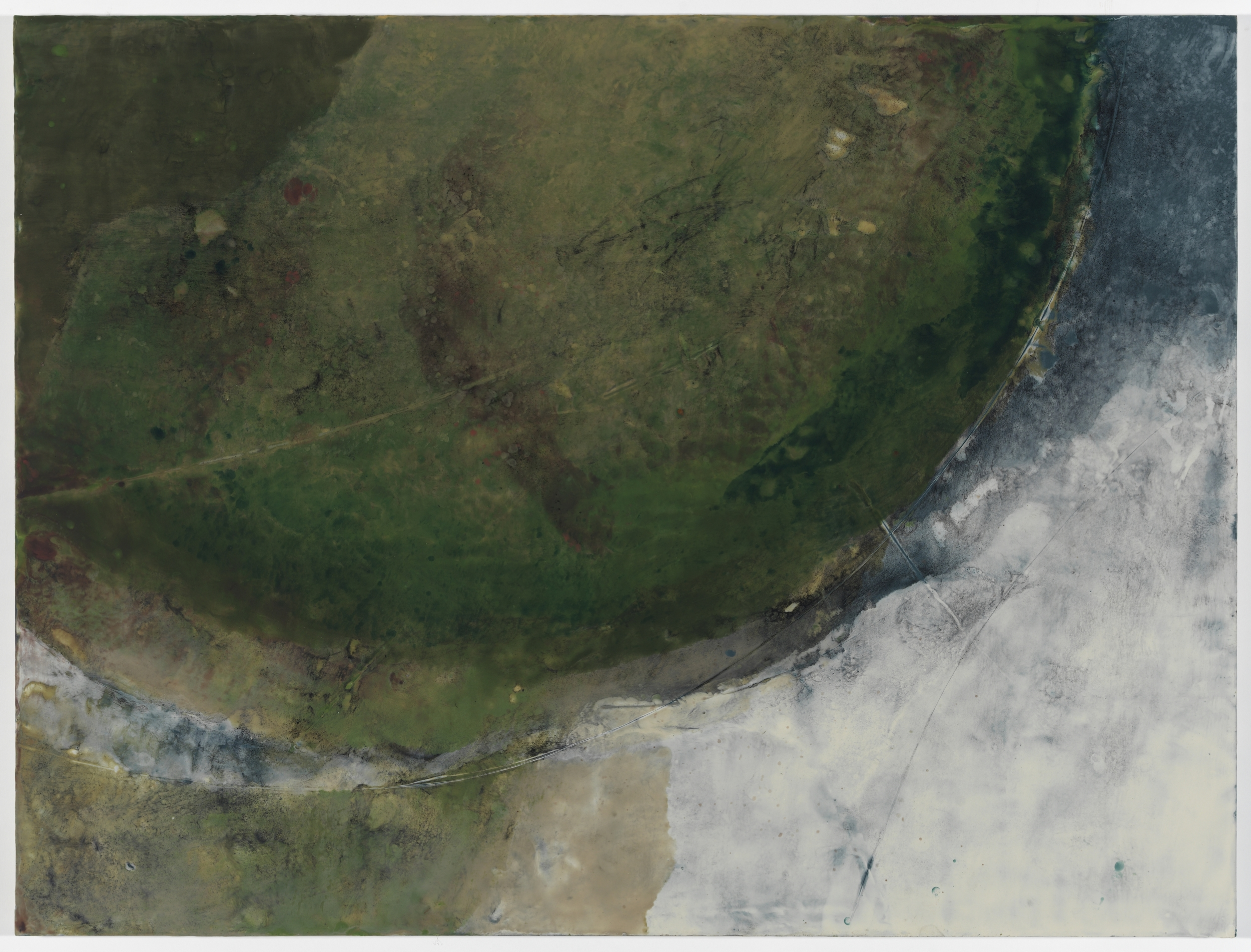 """Observation (Water's Edge) I""  encaustic on panel, 30"" x 40"""
