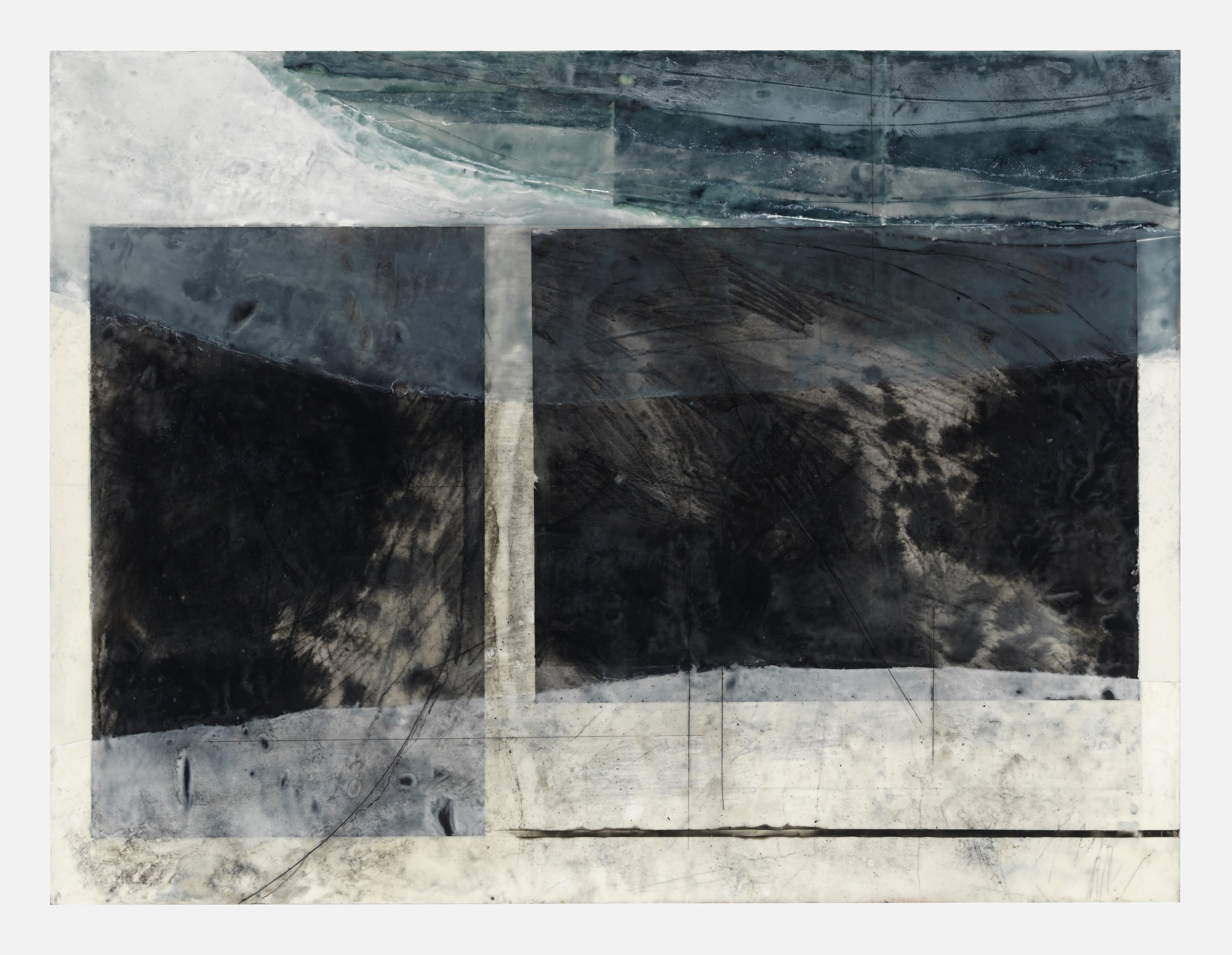 """Shoreline (Dark Water)"" encaustic on panel, ink wash and crayon drawing, pastel 30"" x 40"""