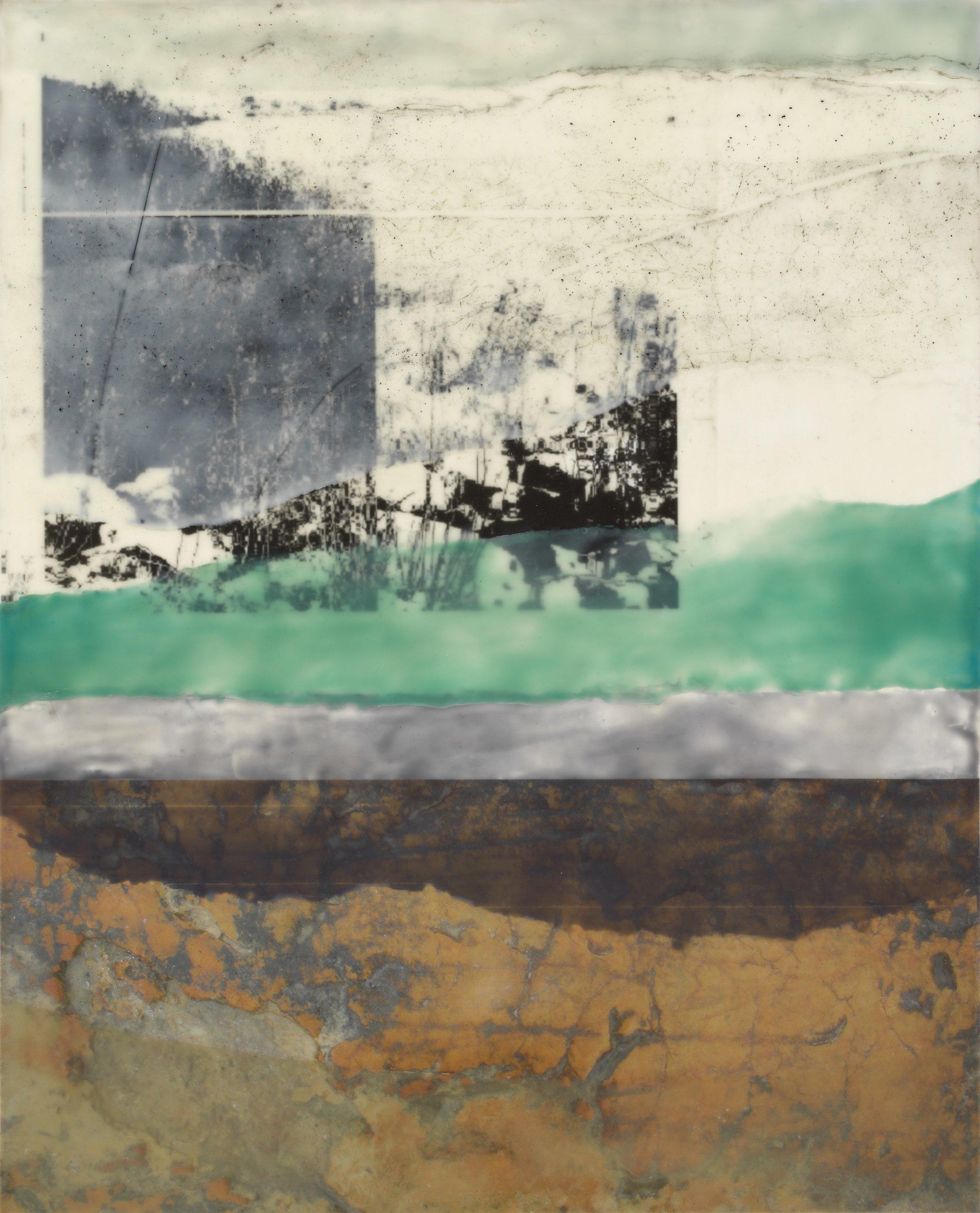 "North Point (Fog) II  Encaustic on Panel, ink jet print, pastel  20"" x 16"""