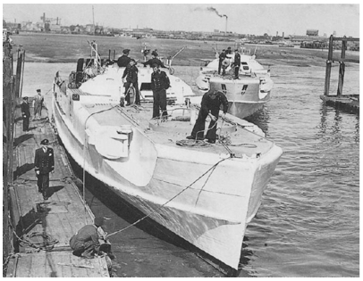 Schnelleboot S130 surrenders in what is now Haslar marina Gosport, 1945