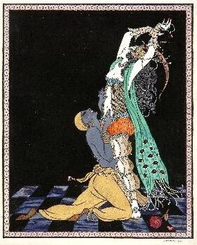 """""""Idat Rubinstein and Vaslav Nijinski"""" by George Barbier (1913)"""