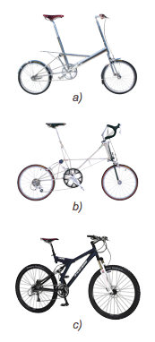 "Bicycles with suspension:  a) The original Moulton  b) The modern ""space frame"" Moulton  c) A mountain bike"