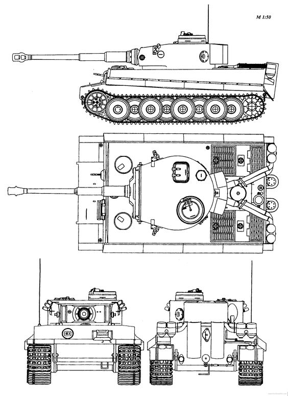 The slab-sided thickly armoured Tiger 1 (https://uk.pinterest.com/pin/504543964488868069/)