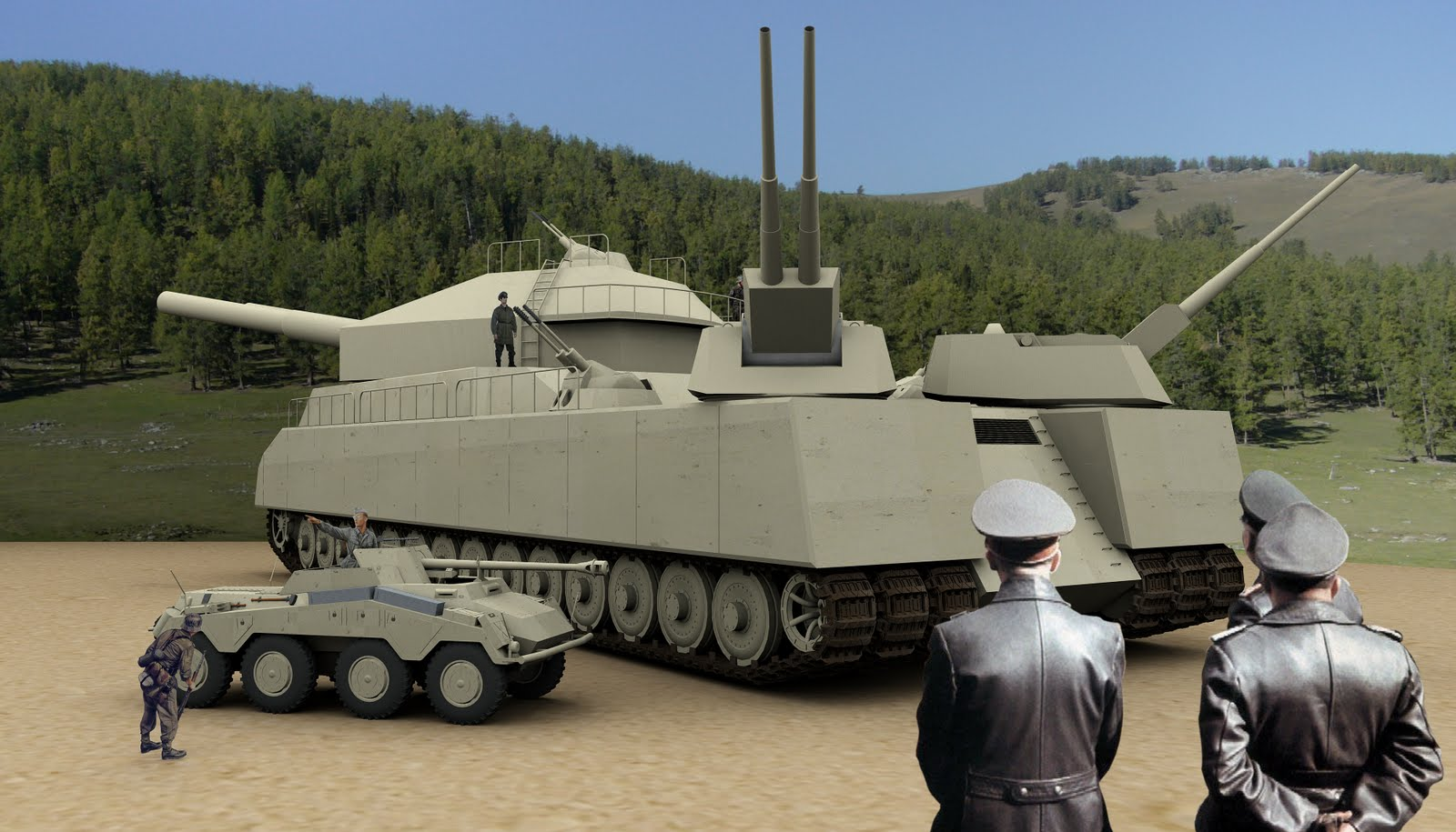The insane Ratte, artistic impression ( https://www.warhistoryonline.com/war-articles/landkreuzer-p-1000-ratte-hitlers-idiotic-heavy-tank-design.html )