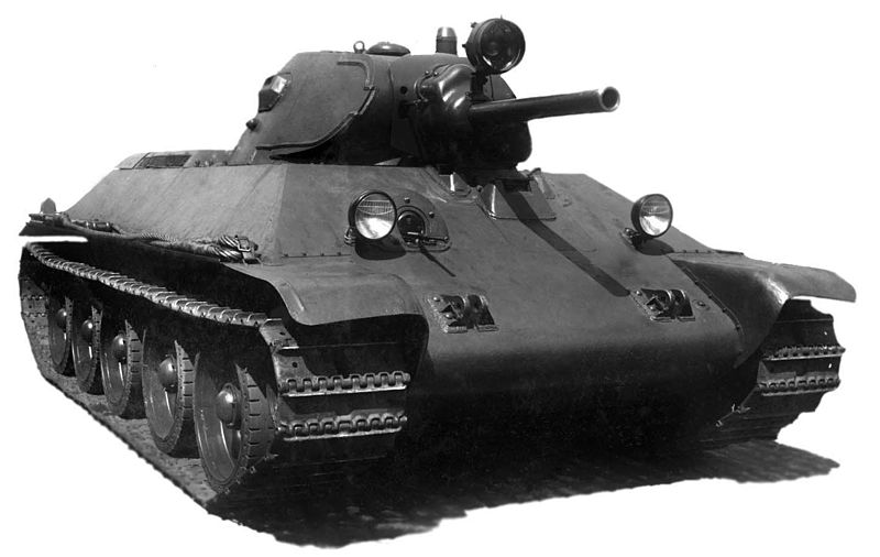 The T-34 model 1940, the first mass production model (http://www.tanks-encyclopedia.com/ww2/soviet/soviet_T34-76.php)